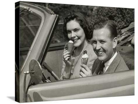 Couple Eating Ice Cream in Car-George Marks-Stretched Canvas Print