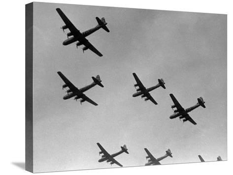 War Scene of Planes in the Sky-George Marks-Stretched Canvas Print