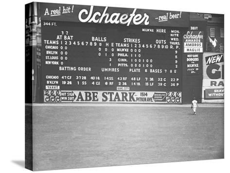 Scoreboard at Baseball Field-George Marks-Stretched Canvas Print