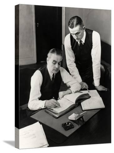 Bookkeepers With Records-George Marks-Stretched Canvas Print