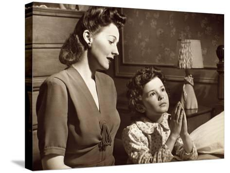 Girl Praying With Mother-George Marks-Stretched Canvas Print