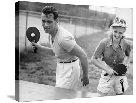 Couple Playing Ping Pong-George Marks-Stretched Canvas Print