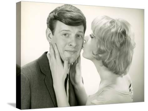 Woman Kissing Man on Cheek-George Marks-Stretched Canvas Print