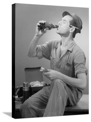 Worker Eating Lunch-George Marks-Stretched Canvas Print