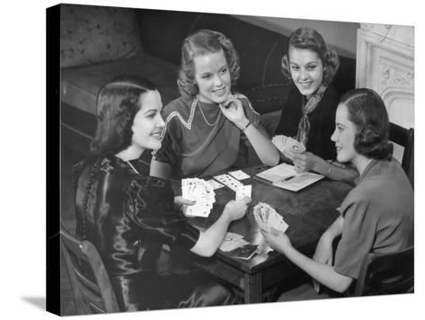 Women Playing Cards-George Marks-Stretched Canvas Print