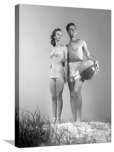 Couple at the Beach-George Marks-Stretched Canvas Print