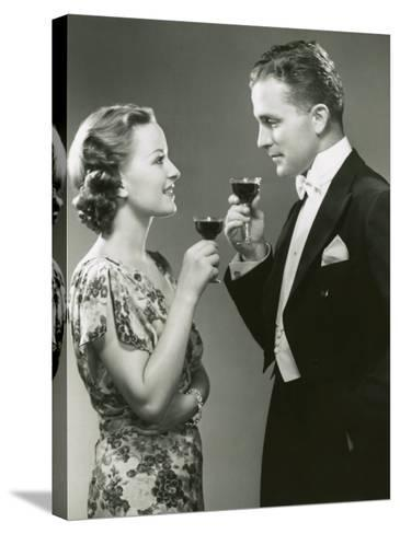 Couple Drinking Wine-George Marks-Stretched Canvas Print