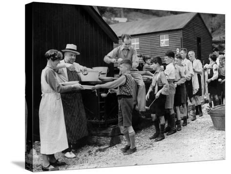 Lining Up For Food--Stretched Canvas Print