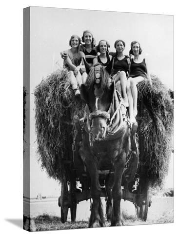 Ride on Hay Cart--Stretched Canvas Print