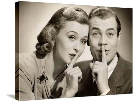 Couple With Secret-George Marks-Stretched Canvas Print
