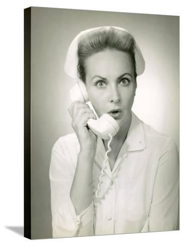 Nurse on Telephone-George Marks-Stretched Canvas Print