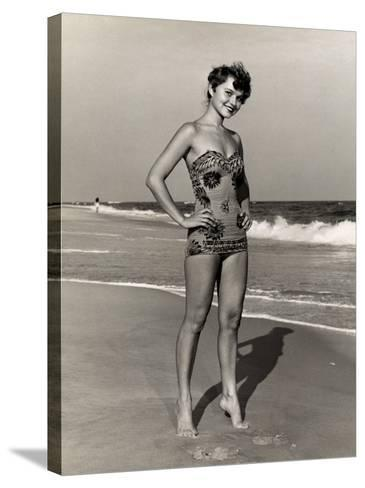 Woman at the Beach-George Marks-Stretched Canvas Print
