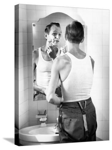 Man Shaving-George Marks-Stretched Canvas Print