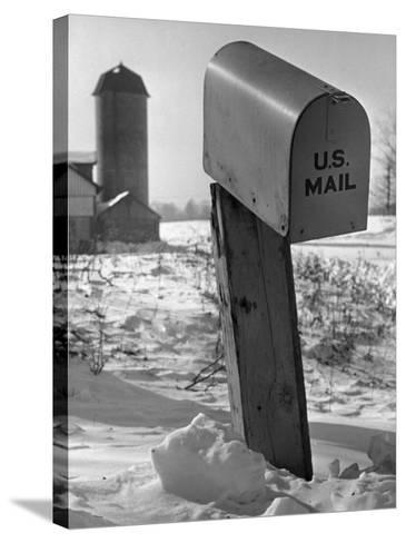 Mail Box in Snow-George Marks-Stretched Canvas Print
