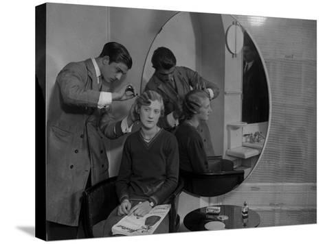 Model Haircut--Stretched Canvas Print