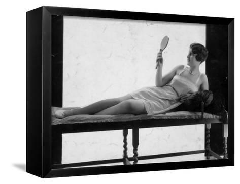 Hand Mirror--Framed Canvas Print