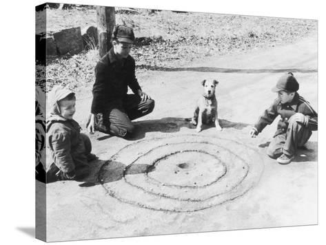 Boys Playing Marbles, Dog Watching--Stretched Canvas Print