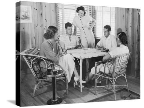 Group of Young People Playing Cards--Stretched Canvas Print