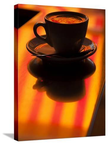 Cappuccino Reflection, Lugano, Ticino Canton, Switzerland-Walter Bibikow-Stretched Canvas Print