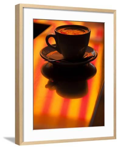 Cappuccino Reflection, Lugano, Ticino Canton, Switzerland-Walter Bibikow-Framed Art Print