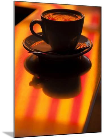 Cappuccino Reflection, Lugano, Ticino Canton, Switzerland-Walter Bibikow-Mounted Photographic Print