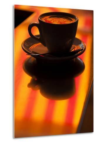 Cappuccino Reflection, Lugano, Ticino Canton, Switzerland-Walter Bibikow-Metal Print