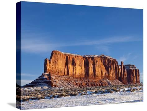 Monument Valley in the Snow, Monument Valley Navajo Tribal Park, Arizona, USA-Walter Bibikow-Stretched Canvas Print