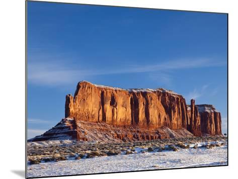 Monument Valley in the Snow, Monument Valley Navajo Tribal Park, Arizona, USA-Walter Bibikow-Mounted Photographic Print