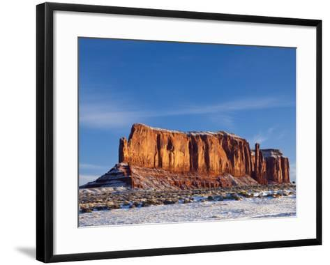 Monument Valley in the Snow, Monument Valley Navajo Tribal Park, Arizona, USA-Walter Bibikow-Framed Art Print