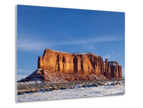 Monument Valley in the Snow, Monument Valley Navajo Tribal Park, Arizona, USA-Walter Bibikow-Metal Print