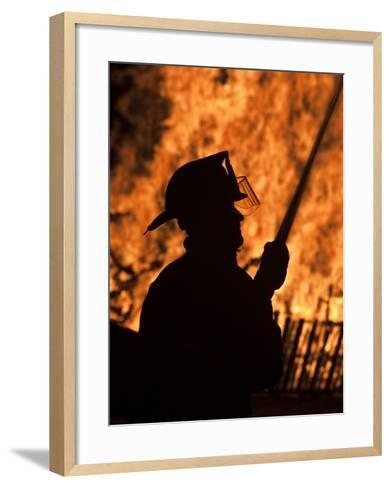Fourth of July Holiday Bonfire, Rockport, Massachusetts, USA-Walter Bibikow-Framed Art Print