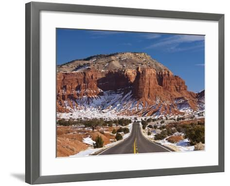 Route 24 in Winter, Capitol Reef National Park, Torrey, Utah, USA-Walter Bibikow-Framed Art Print