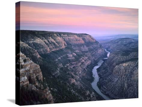 The Green River & Cliffs of Whirlpool Canyon at Dusk, Dinosaur National Monument, Utah, USA-Scott T^ Smith-Stretched Canvas Print