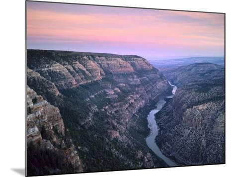 The Green River & Cliffs of Whirlpool Canyon at Dusk, Dinosaur National Monument, Utah, USA-Scott T^ Smith-Mounted Photographic Print