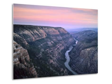 The Green River & Cliffs of Whirlpool Canyon at Dusk, Dinosaur National Monument, Utah, USA-Scott T^ Smith-Metal Print