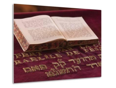 Hebrew Bible in Fes Synagogue, Morocco-William Sutton-Metal Print