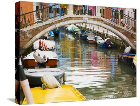 Colorful Burano City Homes Reflecting in the Canal, Italy-Terry Eggers-Stretched Canvas Print