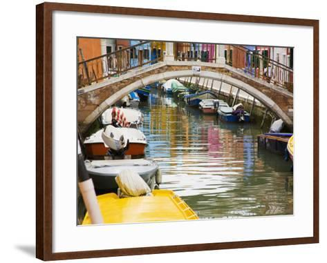 Colorful Burano City Homes Reflecting in the Canal, Italy-Terry Eggers-Framed Art Print