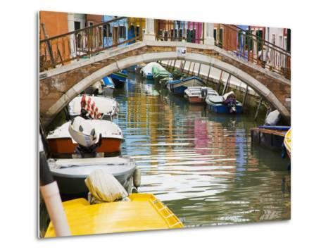 Colorful Burano City Homes Reflecting in the Canal, Italy-Terry Eggers-Metal Print