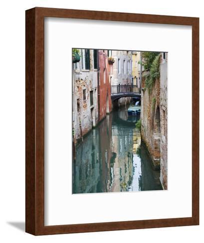 Reflections and Small Bridge of Canal of Venice, Italy-Terry Eggers-Framed Art Print