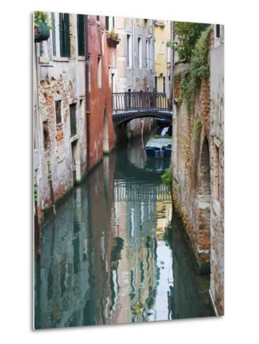 Reflections and Small Bridge of Canal of Venice, Italy-Terry Eggers-Metal Print