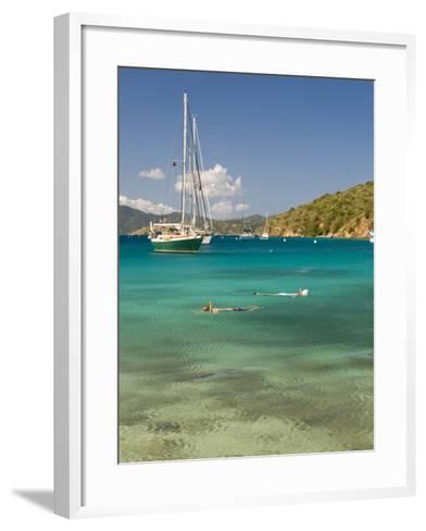 Snorkelers in Idyllic Cove, Norman Island, Bvi-Trish Drury-Framed Art Print