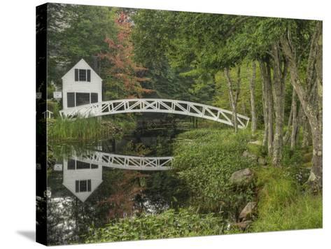 White Footbridge, Somesville, Mount Desert Island, Maine, USA-Adam Jones-Stretched Canvas Print