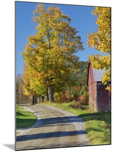 Road Beside Classic Farm in Autumn, New Hampshire, USA-Adam Jones-Mounted Photographic Print