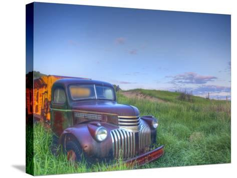 Old Chevy Truck in the Little Missouri National Grasslands, North Dakota, USA-Chuck Haney-Stretched Canvas Print