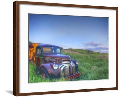 Old Chevy Truck in the Little Missouri National Grasslands, North Dakota, USA-Chuck Haney-Framed Art Print