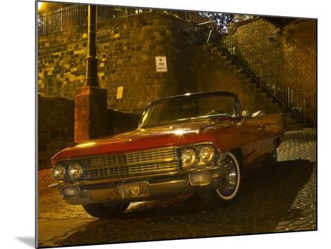 Antique Red Cadillac Parked in the Historic District, Savannah, Georgia, USA-Joanne Wells-Mounted Photographic Print