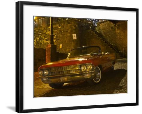 Antique Red Cadillac Parked in the Historic District, Savannah, Georgia, USA-Joanne Wells-Framed Art Print