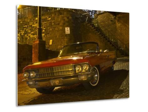 Antique Red Cadillac Parked in the Historic District, Savannah, Georgia, USA-Joanne Wells-Metal Print
