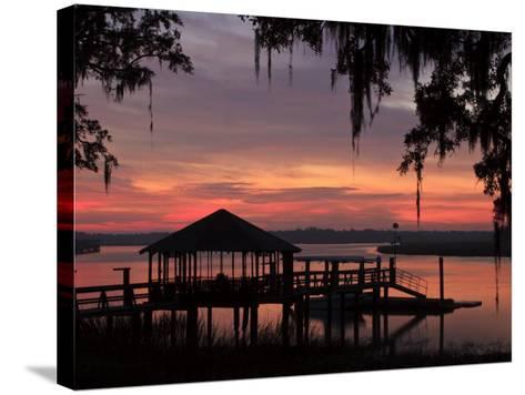 Dock at Sunrise Along the Intracoastal Waterway, Savannah, Georgia, USA-Joanne Wells-Stretched Canvas Print